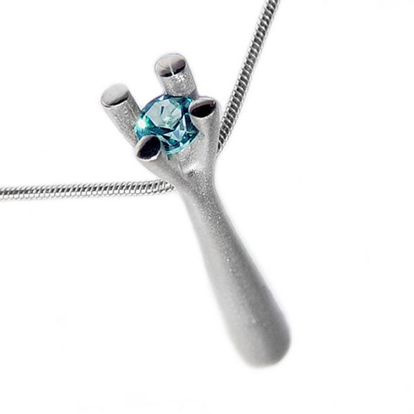 The 4 branch silver bough pendant tapers from approx 6mm at its base to 2.5mm at the neck of the pendant.It is approx 36mm long and crafted in solid silver. The unusual setting consists of a 5mm blue topaz gemstone enclosed in 4 silver branches. The pendant comes with a variety of gemstones on a silver snake chain. Choice of the central stone includes blue topaz,amethyst, iolite, citrine, peridot and garnet.
