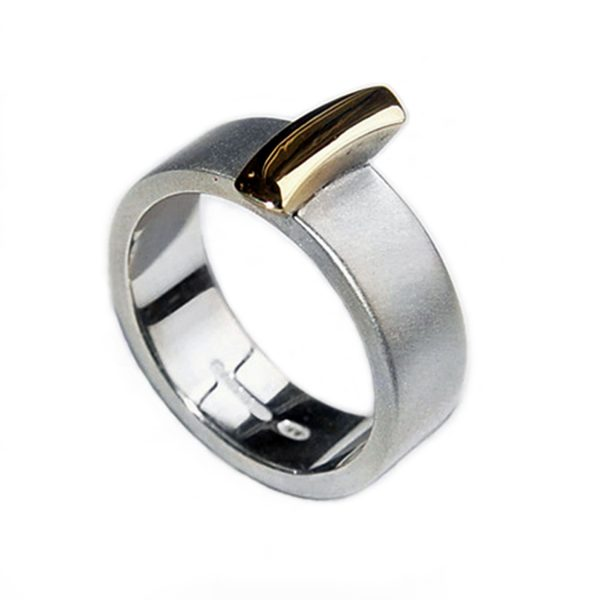 Solid silver ring with rectangular detail. The ring has contrasting 18ct gold detail and a band width of 7mm and depth of approx 2mm (all silver version is also available on request).