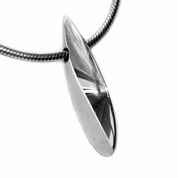 The front plain shell pendant has a smooth organic form. It is approx 22mm long with a width of 4mm and a depth of 8mm at the widest point. The pendant usually comes on a silver snake chain.