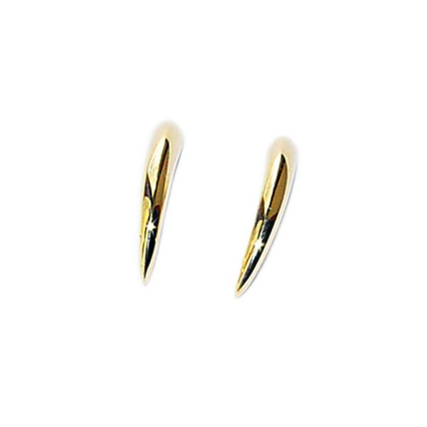 These small 18ct gold spike earrings are practical, comfortable and therefore ideal for everyday wear. The approximate maximum dimensions are height 13mm,width 3mm and depth 3mm. The earrings come in a satin or polished finish. They are also available in platinum on request.
