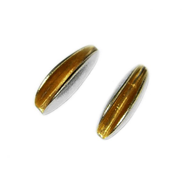 Front split shell studs in silver with rich 22ct gold plated interior. The earrings usually come in a satin finish and approximate maximum dimensions are height 14mm, width 4mm, depth 6mm. These unusual earrings are practical, comfortable and therefore ideal for everyday wear.