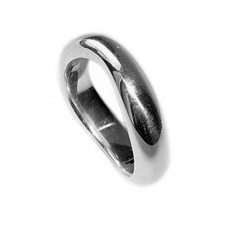Curved organic silver band. This unusual silver ring has a comfortable rounded band which is flat on the inside. The approximate maximum dimensions are 6mm wide with a depth of 3mm. The ring is plain, understated, and therefore perfect as an everyday ring for men or women.   The ring is individually handmade to order and is available in a wide range of sizes including 1/2 sizes.  Please let us know your ring size when you place your order. We use the UK/AU sizing system, however. If you have a ring size based on EU, US/Canada or any other international sizing system we can convert it. The curved organic silver band has a Paul Finch hallmark and conforms to the British hallmarking standard. It comes in a branded jewellery box. Cleaning instructions   For satin finish use silver dip, rinse in warm soapy water, dry thoroughly. For polished finish use silver polishing cloth/ and or silver dip. FREE Delivery The parcel will be sent out using secure Colissimo International tracked and signed for service and  requires a signature on receipt. Dispatched within 2-5 working days
