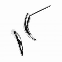 These small silver spike earrings are practical, comfortable and therefore ideal for everyday wear. The approximate maximum dimensions are height 13mm,width 3mm and depth 3mm. The earrings come in a satin or polished finish. They are also available in 18ct gold on request.