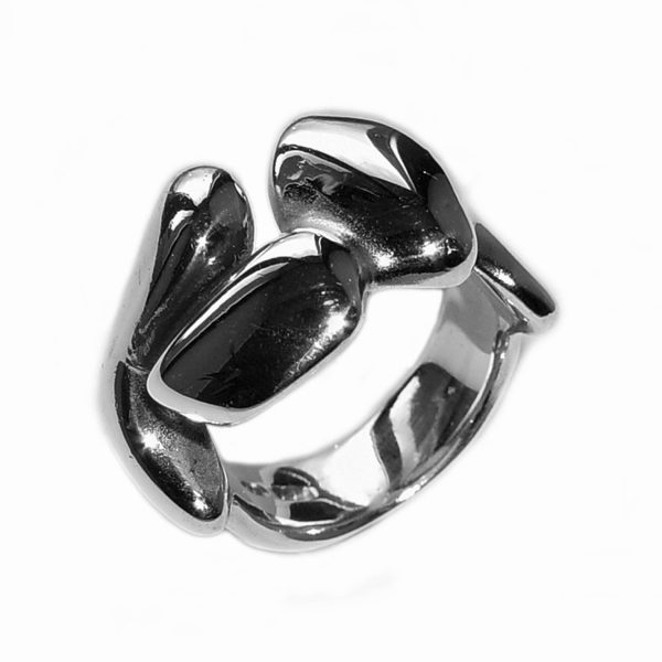 The solid sculptural silver band is smooth, tactile and perfectly weighted. It has a width of 7mm, depth of 2mm and is approx 13mm at the widest point across the top. The ring is individually handmade to order and comes in a wide range of sizes including 1/2 sizes.  Please let us know your ring size when you place your order. We use the UK/AU sizing system, however. If you have a ring size based on EU, US/Canada or any other international sizing system we can convert it. If you would like the ring in 9ct or 18ct gold please contuct us for more details. The sculptural silver band has a Paul Finch hallmark and conforms to the British hallmarking standard. It comes in a branded jewellery box. Cleaning instructions   For satin finish use silver dip, rinse in warm soapy water, dry thoroughly. For polished finish use silver polishing cloth/ and or silver dip.
