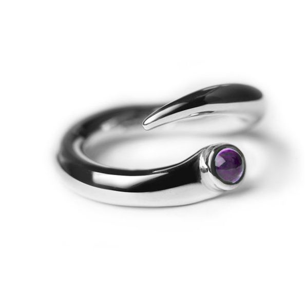 Curving silver wiggly ring with 3mm collet set amethyst cabochon gemstone. The unique handcrafted ring is practical and ideal for everyday wear because it has a comfortable rounded 4mm band