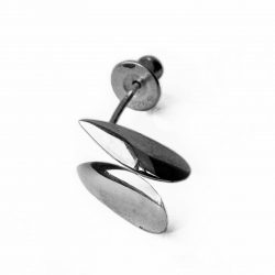 Front silver shell studs with smooth organic form. Approximate maximum dimensions height 13mm width 6mm depth 3mm.