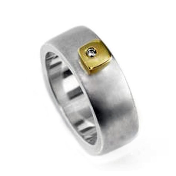 Silver 18ct ring HRW1AG. This solid silver ring has contrasting 18ct yellow gold detail and a sparkling 0.02ct vsfg diamond. The band is 7mm wide and has a depth of approx 2mm. The ring is practical and comfortable to wear(An all silver version is also available on request). Silver 18ct ring HRW1AG is individually handmade to order and comes in a wide range of sizes including 1/2 sizes. Please let us know your ring size when you place your order.We use the UK/AU sizing system, however. If you have a ring size based on EU, US/Canada or any other international sizing system we can convert it.